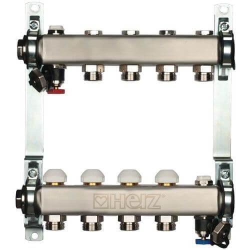 Коллектор для отопительных контуров Herz DN25 на 9 выходов с расходомерами (1863109)