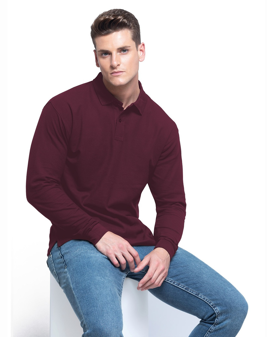 Чоловіча сорочка-поло з довгими рукавами JHK REGULAR