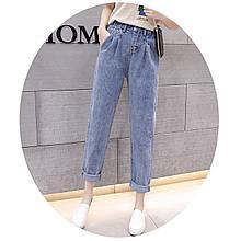 Джинсы женские с резинкой короткие стильные светло-синие Fashion #62