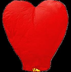 Небесный фонарик Большое Сердце, высота фонарика: 102 сантиметра, цвет: красный