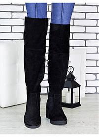 Ботфорты  из натуральной замши на каблуке и шнуровкой,  размер 36-40