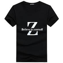 Футболка мужская черная однотонная хлопковая с принтом Believe
