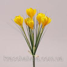 Цветок искусственный, букет, Крокус желтый, H 35 см, Искусственные цветы, Днепр