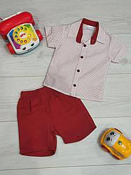 Костюм прогулочный рубашка +шорты на возраст 1,2 года , красный+ белый, Турция