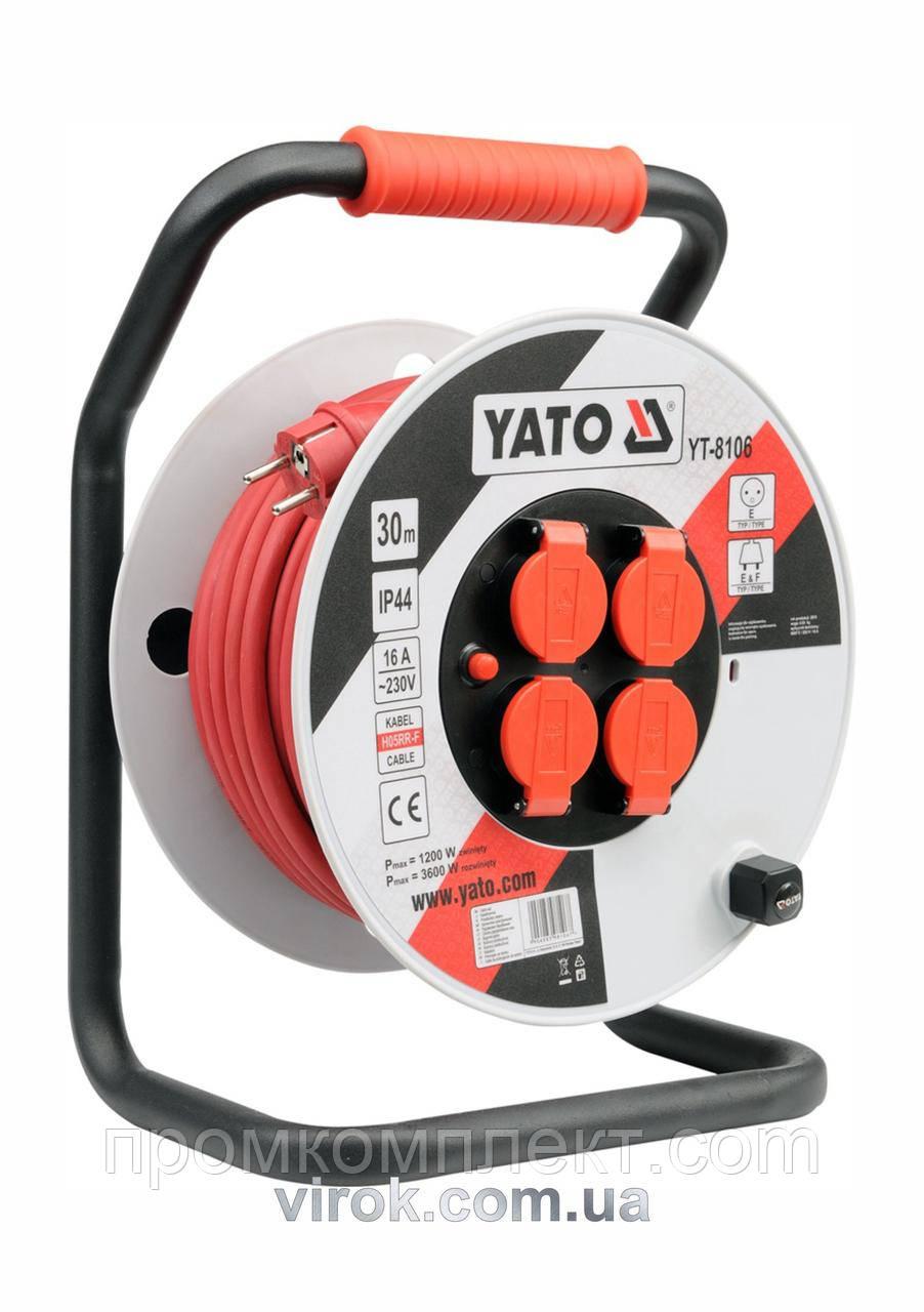 Подовжувач електричний на котушці YATO 30 м 2.5 мм² 4 гнізда 3-жильний