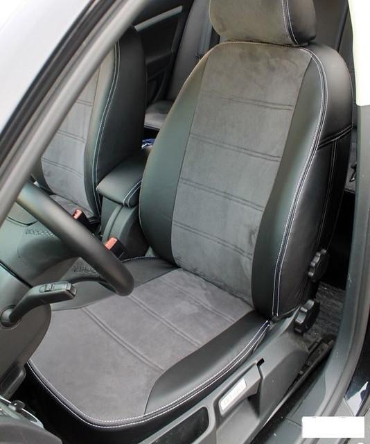 Чехлы на сиденья Пежо 206 (Peugeot 206) (модельные, экокожа Аригон+Алькантара, отдельный подголовник)