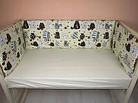 Бортики в детскую кроватку защита бампер Желтый для новорожденных