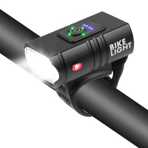 Велофонарь BK-02Pro-2XPE ULTRA LIGHT, ALUMINUM, индикация заряда, Waterproof, аккум., ЗУ micro USB