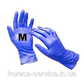 Рукавички нітрилові неопудрені сині розмір Ѕ 50 пар