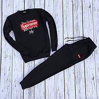 """Мужской спортивный костюм чёрный свитшот с принтом """"Supreme"""" и чёрные штаны с принтом """"Supreme"""""""
