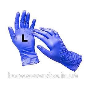 Рукавички нітрилові неопудрені сині розмір L 50 пар