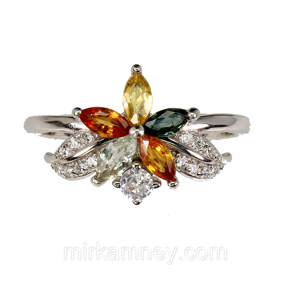 Кольцо Цветной Сапфир (МУЛЬТИКОЛОР) .Размер 17.5 Серебро 925, покрытие белым золотом 14 карат