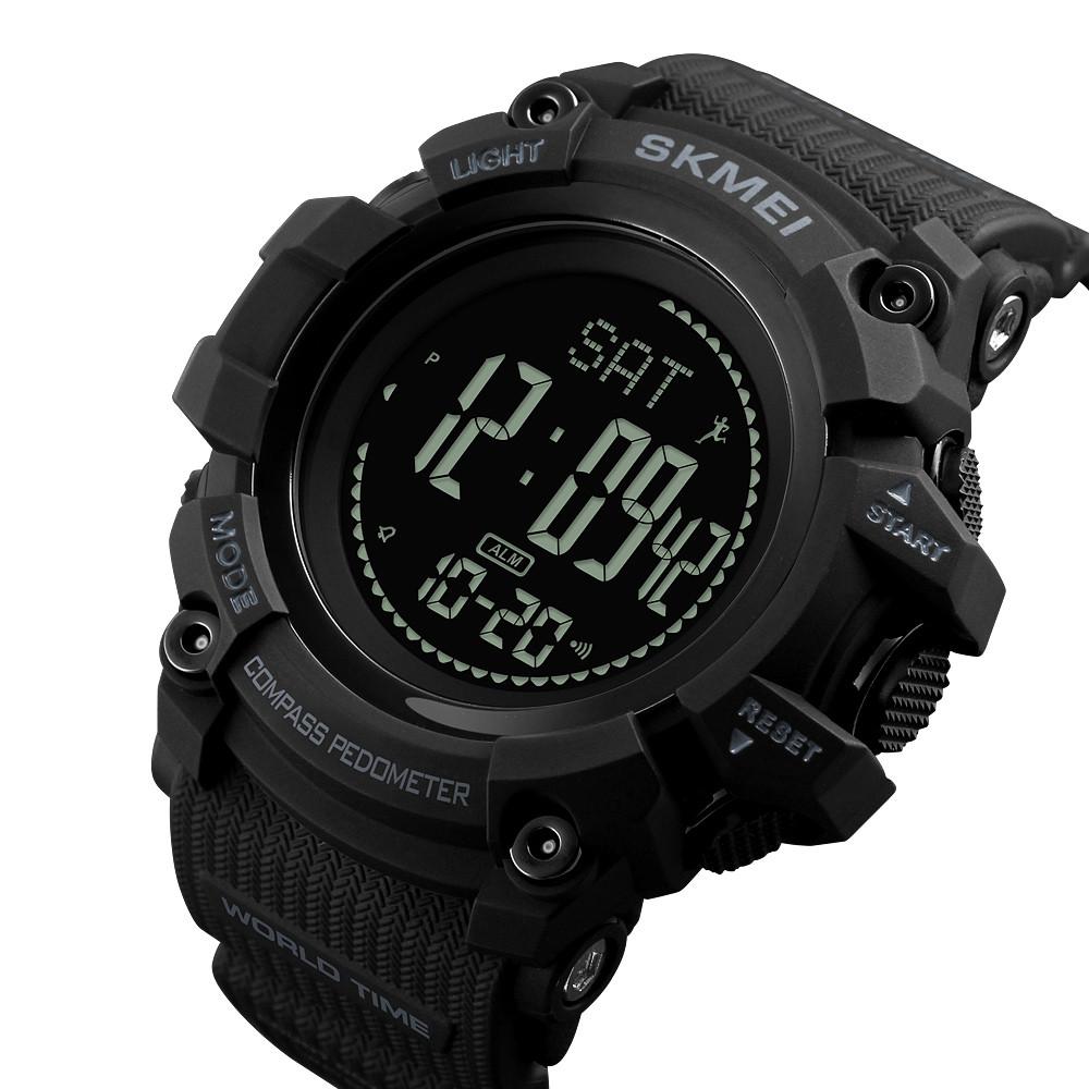 Спортивные часы с компасом и шагомером Skmei 1356 Compass черные
