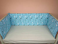 Бортики в детскую кроватку защита бампер Бирюзовый для новорожденных