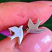 Ласточки серебряные серьги гвоздики - Пуссеты Ласточки родированное серебро - Серьги серебро птички минимализм, фото 3