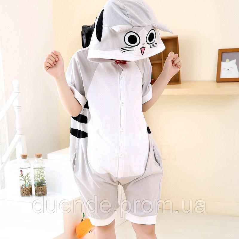 Кигуруми пижама Серый кот лето для взрослых, цвет серый  / Kig - 0157