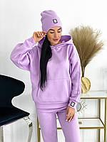Женский теплый спортивный костюм на флисе с шапкой С-М +большие размеры Разные цвета