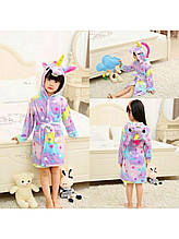 Дитячий халат єдиноріг Зоряний для дівчинки 5-6 роки (110-116 см)
