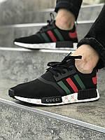 Мужские черные с разноцветными полосами кроссовки NMD GUCCI