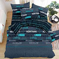Постельное белье Газета, на резинке, размер евро. Комплект постельного белья, бязь, цвет зеленый