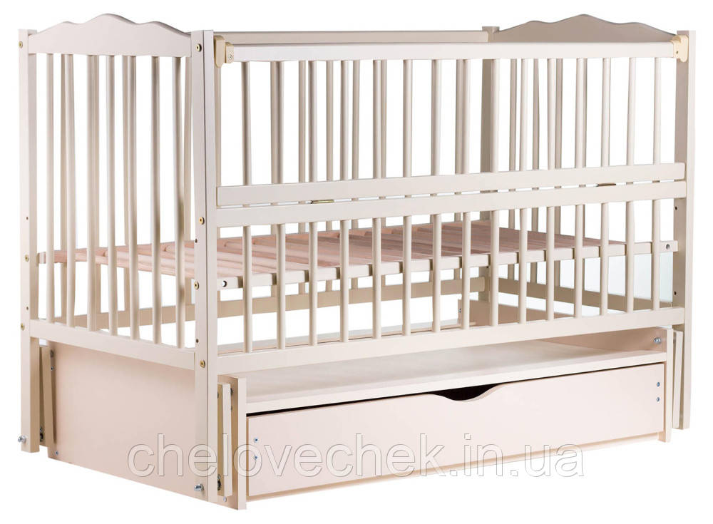 """Детская кроватка """"Веселка"""" с маятником, ящиком и откидным боком, слоновая кость"""
