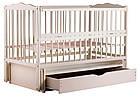 """Детская кроватка """"Веселка"""" с маятником, ящиком и откидным боком, слоновая кость, фото 4"""