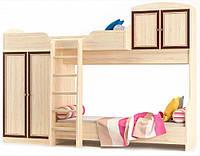 Кровать Горка двухъярусная в детскую комнату Дисней Мебель Сервис с ламелями 80х200 дуб светлый