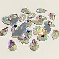 Стразы-капли Crystal AB №1 термофиксация 8x5мм, 1шт