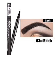 Водостойкий карандаш для бровей, четырех-линейный, окраска бровей, макияж, косметика, цвет - черный
