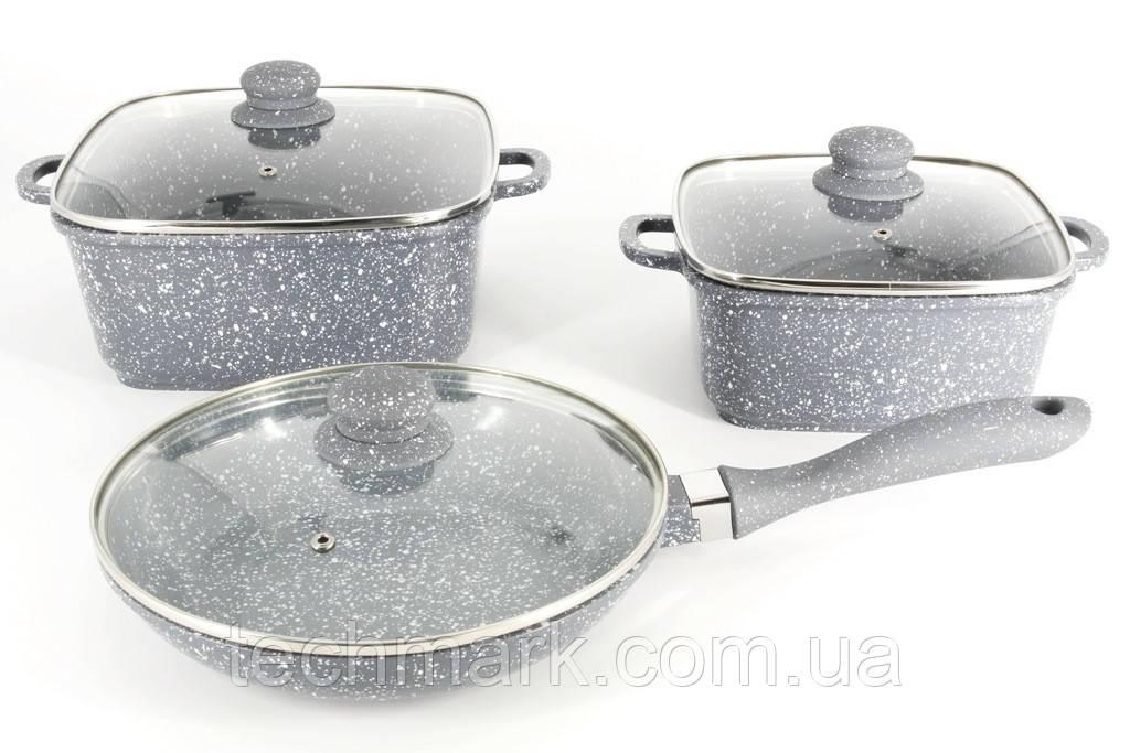 Набор кастрюль квадратной формы с сковородкой от A-PLUS 1505 Мраморное покрытие