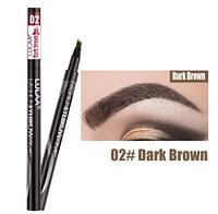 Водостойкий карандаш для бровей, четырех-линейный, окраска бровей, макияж, косметика, цвет - темно-коричневый