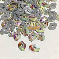 Стразы Crystal AB №15 термофиксация 7x5мм 1шт