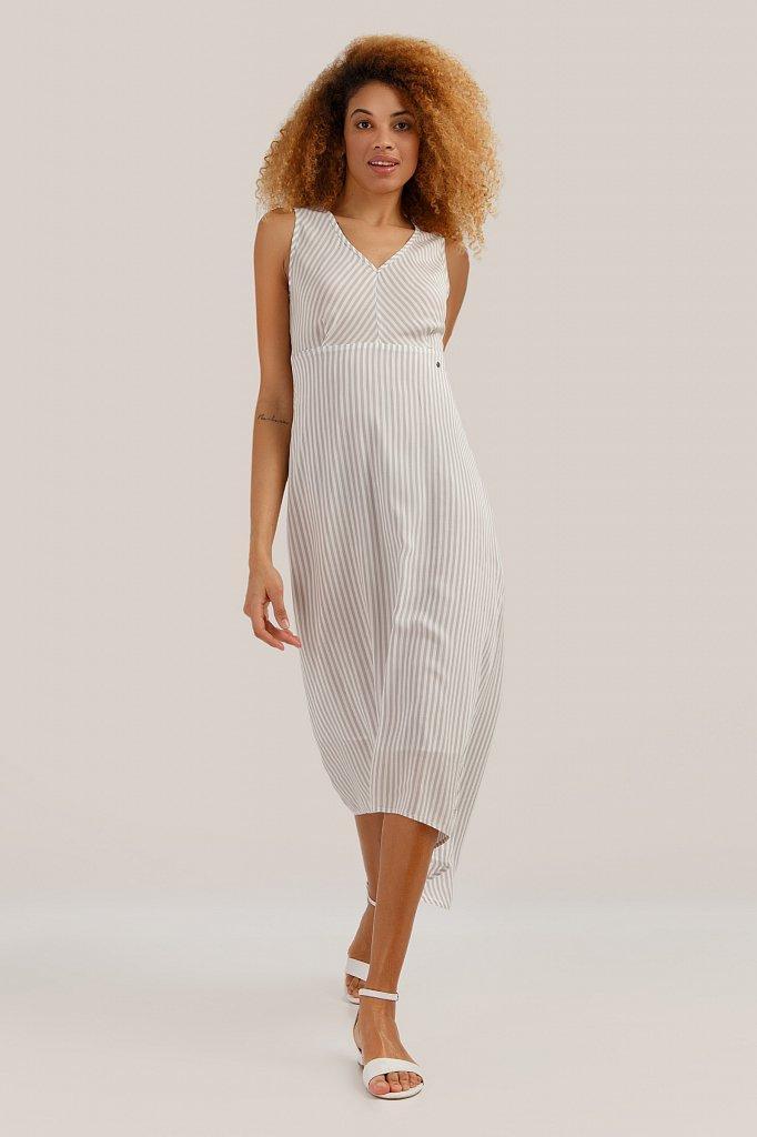 Довге літнє плаття Finn Flare S19-140115-211 в смужку світло-сіре