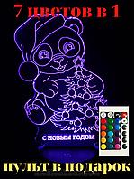 Ночник светильник 3д детский настольный 3d с пультом. Панда,с Новым Годом