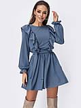 Коротке плаття з рюшами з боків і розкльошеною спідницею, фото 2