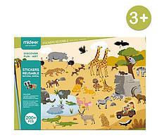 Наклейки багаторазові Тварини і Динозаври Mideer
