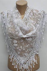 Платок белый с камнями свадебный церковный ажурный 230002
