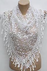Платок белый с камнями свадебный церковный ажурный 230003