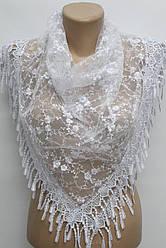Платок белый с камнями свадебный церковный ажурный 230004