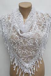 Платок белый с камнями свадебный церковный ажурный 230005
