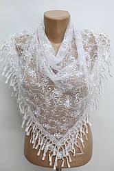Платок белый с камнями свадебный церковный ажурный 230006