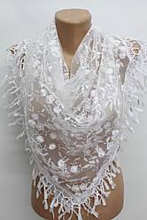 Платок белый с камнями свадебный церковный ажурный 230007