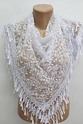 Платок белый с камнями свадебный церковный ажурный 230008
