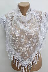 Платок белый с камнями свадебный церковный ажурный 230009