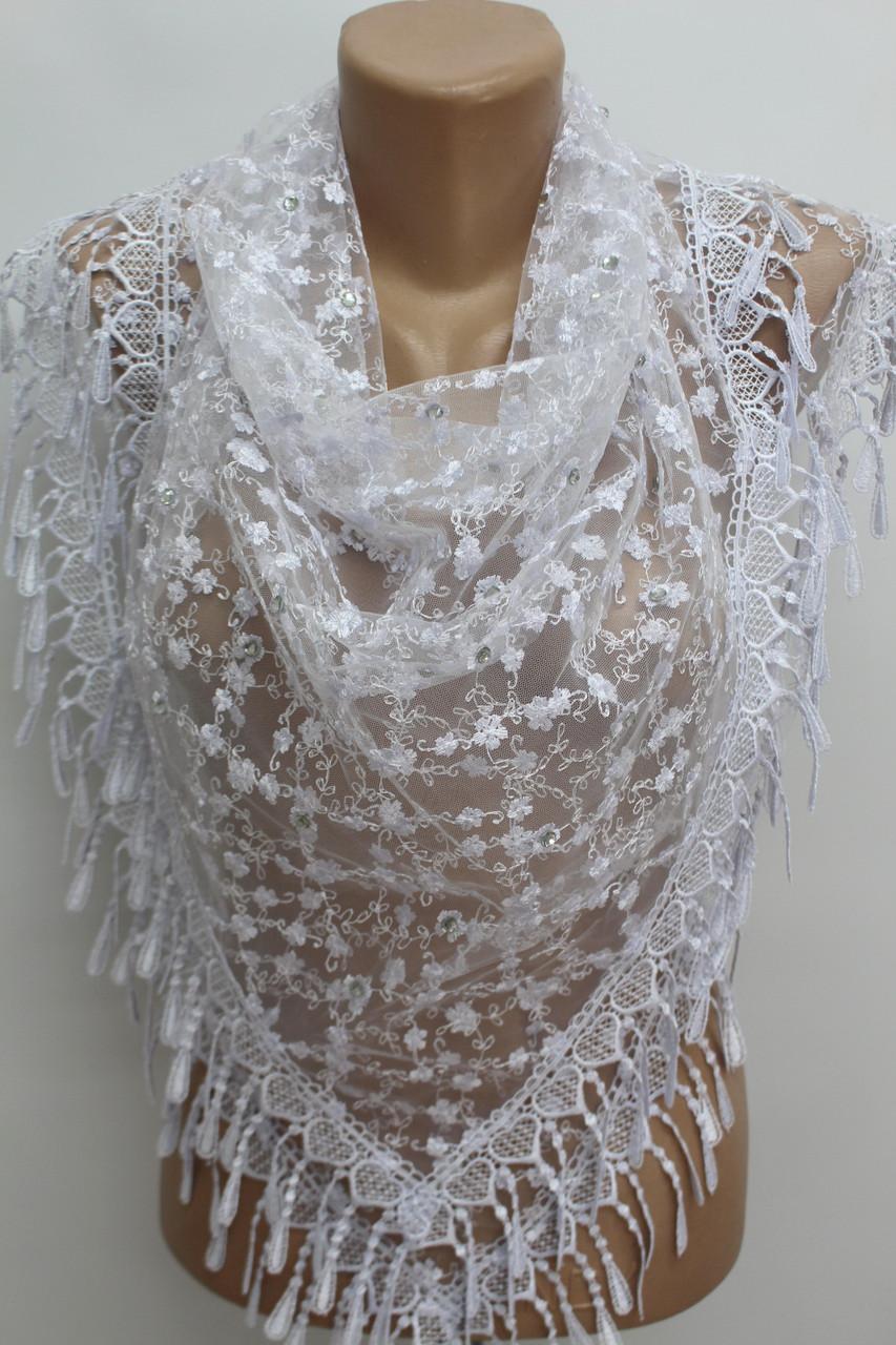 Платок белый свадебный церковный ажурный 230010