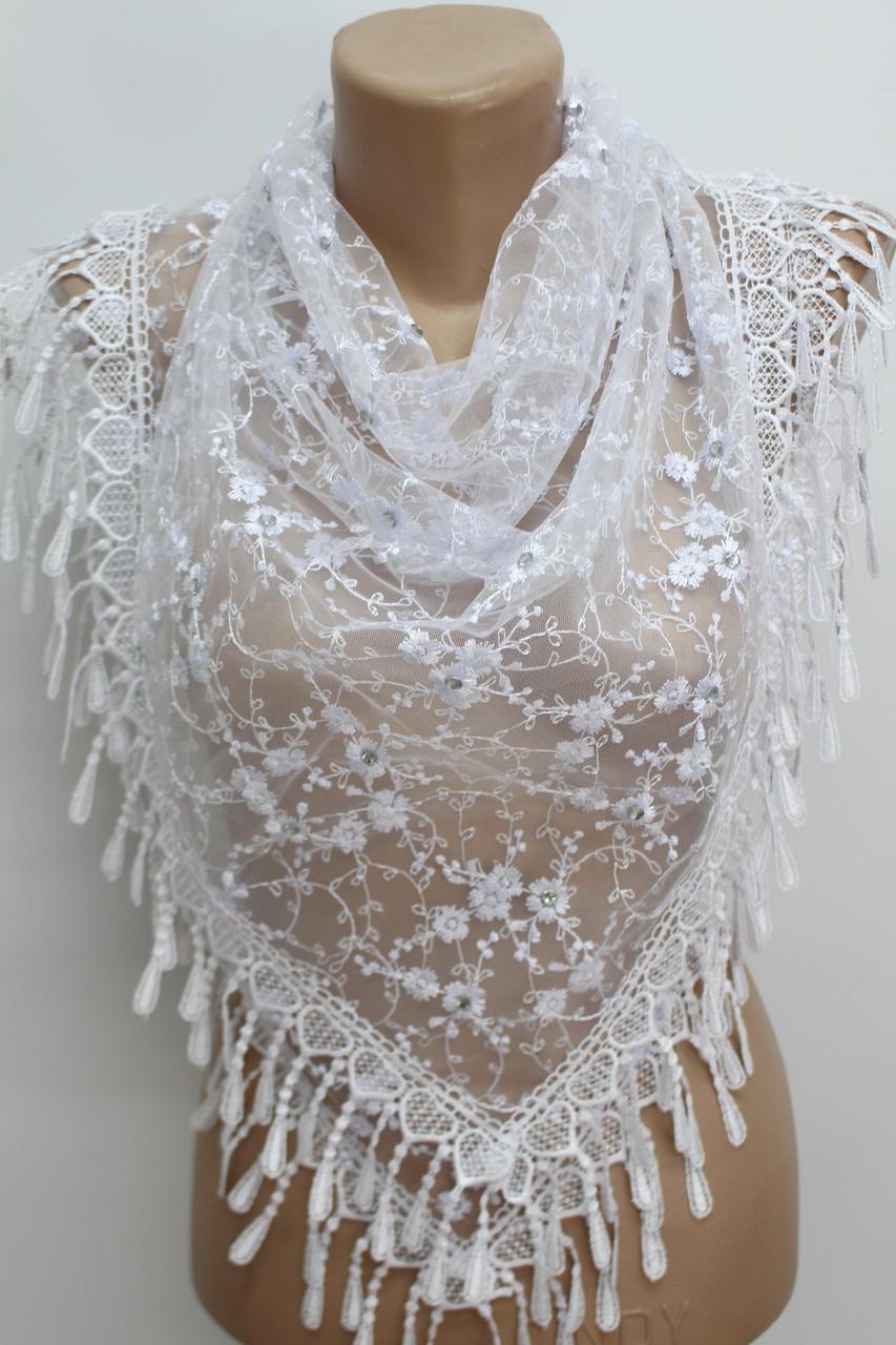 Платок белый с камнями свадебный церковный ажурный 230011