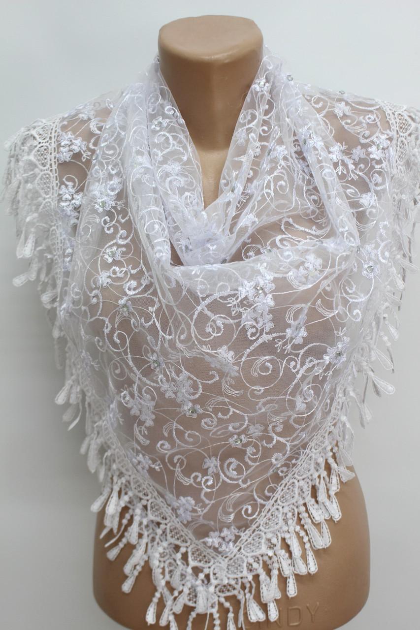 Платок белый с камнями свадебный церковный ажурный 230012