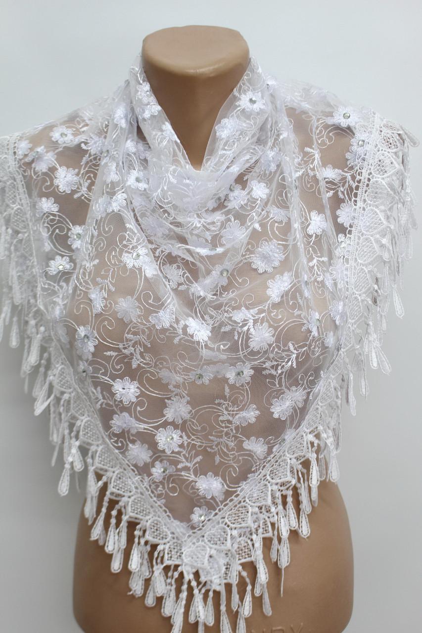 Платок белый с камнями свадебный церковный ажурный 230013