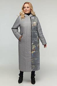 Женское длинное стеганое пальто больших размеров 48-64