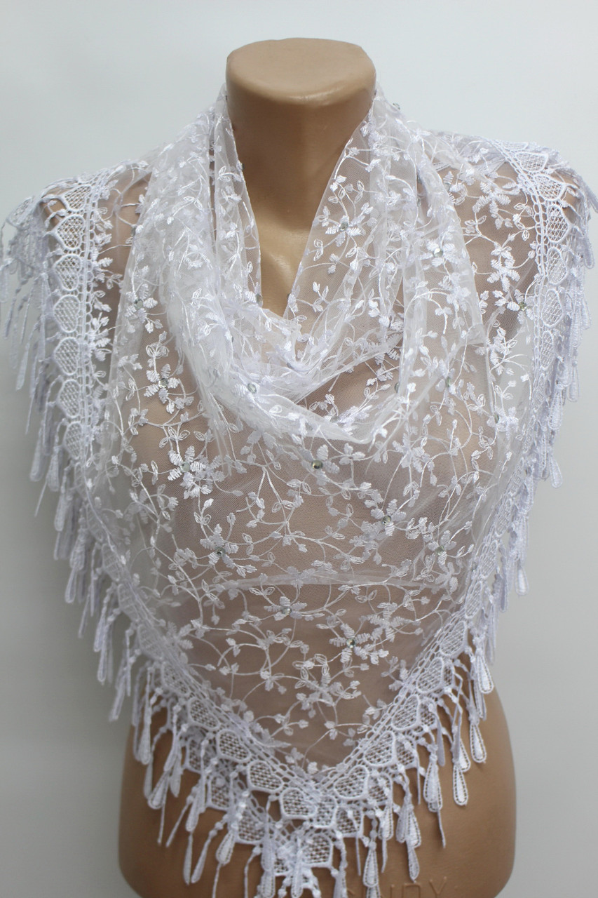 Платок белый с камнями свадебный церковный ажурный 230015